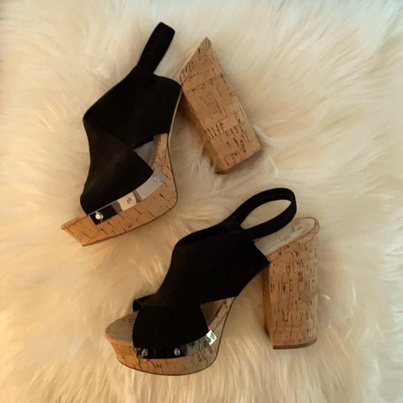 Black suede Fergie cork wedge heels, wore once.
